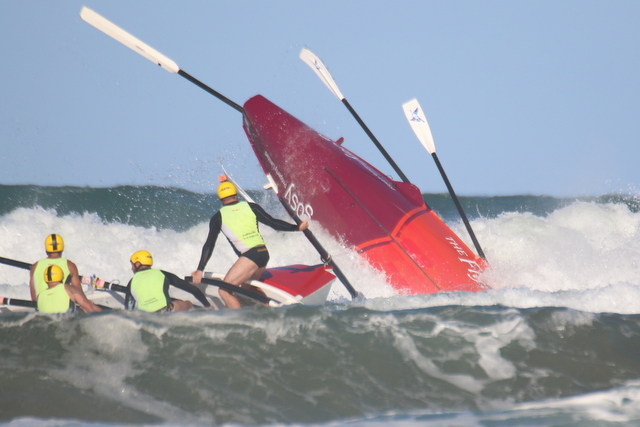 Wild ride for boat crews in Waihi surf